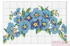 Blue flowers loom beading pattern cross stitch pattern floral
