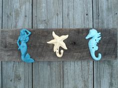 Beach decor nautical hooks on authentic rustic by riricreations.available in 26 different colors.lots of shapes too.sand dollar, shell, etc. Beach Stuff, Cool Gadgets, Kids Bedroom, Different Colors, More Fun, Hooks, Nautical, Shell, Sweet Home