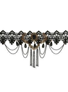 Victorian Costume Jewelry Blackheart Burnished Gold  Black Lace Choker $9.90 AT vintagedancer.com