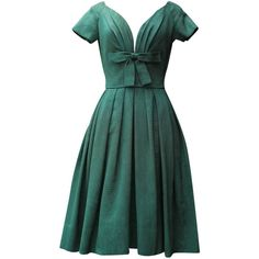 Pre-owned 1950s Christian Dior Boutique Green Cocktail Dress ($1,518) ❤ liked on Polyvore featuring dresses, vintage, cocktail dresses, day dresses, green cocktail dress, short dresses, vintage green dress, short sleeve dress and short-sleeve dresses
