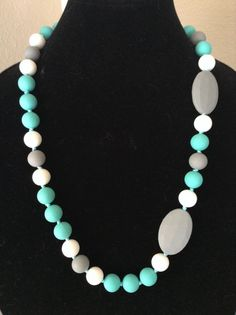 Turquoise Gray & White Silicone Teething / by TrendyMommyDesigns Necklace for moms of teething babies. GENIUS!
