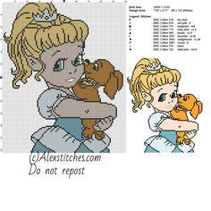 Baby Disney princess Cinderella with dog free cross stitch pattern 100x122 10 colors