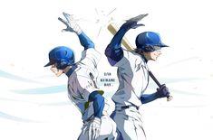 Kuramochi Youichi & Miyuki Kazuya Diamond No Ace, Baseball Anime, Miyuki Kazuya, Anime Watch, Boy Pictures, Anime Guys, Manhwa, Chibi, Fan Art