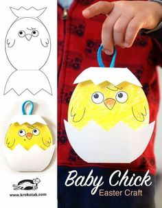 Baby Chick – Easter craft (krokotak) – Back to School Crafts – Grandcrafter – DIY Christmas Ideas ♥ Homes Decoration Ideas Egg Crafts, Easter Crafts For Kids, Toddler Crafts, Kids Diy, Decor Crafts, Easter Activities, Craft Activities, Preschool Crafts, Children Activities