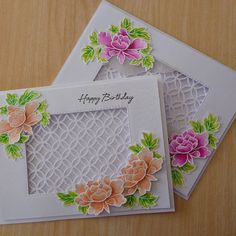 Altenew, Peony Bouquet stamps and taylored expressions and simon says stamp dies