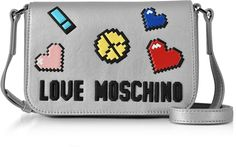 968a96938f Love Moschino Love Pixel Silver Eco-Leather Crossbody Bag #commissionlink  Vegan Handbags, Leather