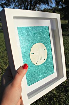 "Items similar to Teal Glitter Sand Dollar or Starfish Wall Art Home Decor White 8""x10"" Shadow Box Frame Glitz & Glam Beach Coastal House Warming Gift on Etsy"