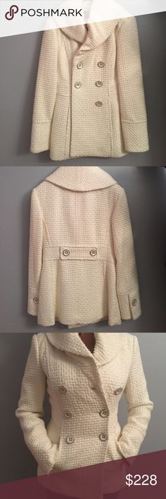NWT Winter Pea Coat Never worn, kept in White House Black Market duster bag in closet, size XXS, white cream color, STUNNING 😍 White House Black Market Jackets & Coats Pea Coats