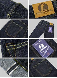 (KOJIMA GENES) Frisbee collaboration 13 oz servicing denim vintage jeans slim (RNB-102V-S)
