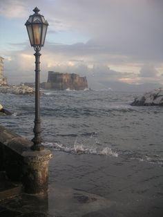 Lungomare di Via Caracciolo in tempesta Napoli Italy