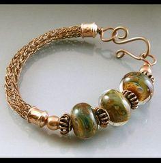 Copper Viking Knit Bracelet with Lampwork Beads . Copper Jewelry, Wire Jewelry, Boho Jewelry, Jewelery, Fashion Jewelry, Jewelry Rings, Swarovski Jewelry, Etsy Jewelry, Crystal Jewelry