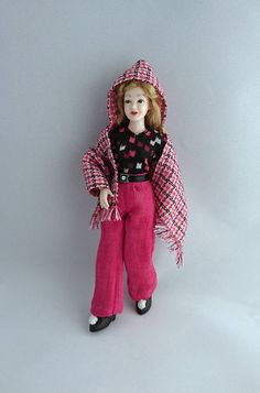 """Set of wearable trousers, T-shirt  and cape for 1/12 Heidi Ott 5.5"""" slim doll. Dollhouse clothing. Price includes shipping. by TuulasBoutique on Etsy"""