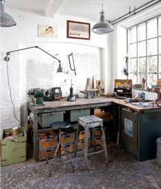 A wonderful, very organized, well-lit  workshop full of older, much used tools. Would love to own it!   VINTAGE