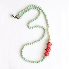 Aros Long Necklace . Coral Multi