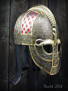 "Vendel helmet replica by ""Thorkil"" Grzegorz Kulig. Based on the finds in the Valsgarde mound # 5 Viking Armor, Ancient Armor, Viking Helmet, Medieval Armor, Medieval Fantasy, Armadura Viking, Armadura Medieval, Helmet Armor, Arm Armor"