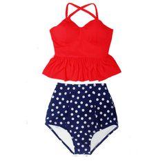 Red Long Peplum Bra Top and Polka Dot Dots Polkadot High Waisted Waist... ($40) ❤ liked on Polyvore featuring swimwear, bikinis, grey, women's clothing, swimsuits two piece, red polka dot bikini, high waisted swimsuit, peplum swimsuit and retro bikini