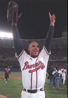 1995: David Justice celebrates Atlanta's World Series win over Cleveland. (Jonathan Newton / AJC File)