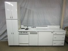 Vintage Dwyer Porcelain Kitchen Kitchenette Sink Stove Refrigerator Cabinet  #Dwyer  2nd floor