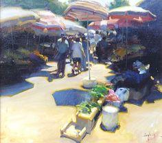 "Kim English: ''Market Umbrellas"" 14 x 16'' original framed oil"