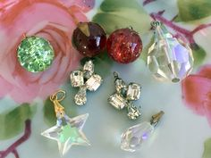 Vintage lot 8 glass crystal pendant Charms Jewelry Supplies crackle glass Rhinestone by Holliezhobbiez on Etsy