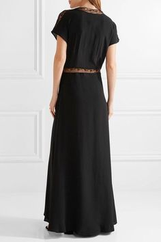 Paul & Joe - Lace-trimmed Silk Crepe De Chine Maxi Dress - Black - FR42