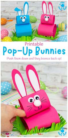 This Pop Up Bunny craft is so much fun for Easter or spring! The cute rabbits sit in their own little grassy field and when you push them down, they pop right back up! An interactive Easter craft for kids. #kidscraftroom #kidscrafts #easter #easterbunny #eastercrafts Easter Arts And Crafts, Spring Crafts For Kids, Bunny Crafts, Craft Projects For Kids, Easter Crafts For Kids, Preschool Crafts, Easter Ideas, Craft Ideas, Bunny Templates