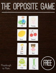 Teaching Kids Opposite Words: The Opposite Game - Playdough To Plato Kindergarten Language Arts, Preschool Literacy, Preschool Lessons, Language Activities, Kindergarten Activities, Activities For Kids, Preschool Songs, Early Literacy, Sensory Activities