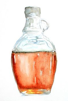 Art Print of Original Watercolor Painting, Maple Syrup- Food, Kitchen Decor 8.5X11in. FREE SHIPPING. $35.00, via Etsy.