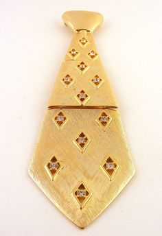 Vintage JJ Necktie Brooch Gold Tone Rhinestones available at: www.TidBitz.Etsy.com