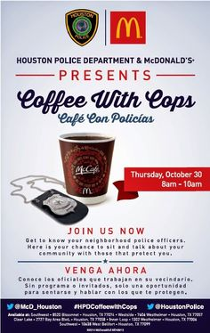 Houston Police Dept Pinterest : Coffee With a Cop