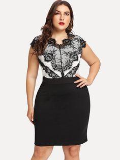 Shop Plus Contrast Eyelash Lace Combo Dress online. SheIn offers Plus Contrast Eyelash Lace Combo Dress & more to fit your fashionable needs. Tulip Dress, Eyelet Dress, Dress P, Bodycon Dress, Viking Clothing, Combo Dress, Lace Dress With Sleeves, Plus Size Fashion For Women, Brown Dress