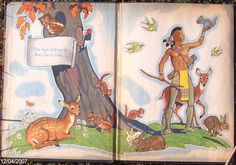 """End Papers - Story of Hiawatha - """"The Story of Hiawatha, adapted from Longfellow for children aged 5 to 10"""" Illustrated by Armstrong Sperry. Copyright 1951, Random House."""