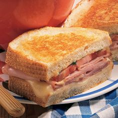 Hearty sandwiches are perfect fast-dinner fare. Our ham and cheese is grilled with a special garlic-Parmesan spread.