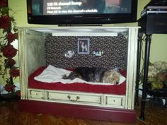 Upcycled Furniture - Old T.V.  to Dog Bed 3