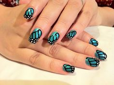 Brush up and Polish up!: CND Shellac Nail Art - Monarch Butterfly Wing Manicure