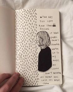 ~Emily Vaughan~ My Journal, Wreck This Journal, Journal Pages, Notebook Drawing, Notebook Sketches, Drawing Rain, Life Drawing, Rain Art, Moleskine Sketchbook