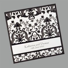 These Damask patten wedding invitations are available in a wide variety of colours. www.kardella.com