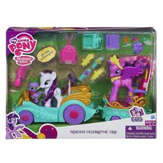 "My Little Pony Princess Celebration Cars Set - Hasbro - Toys ""R"" Us My Little Pony Dolls, All My Little Pony, My Little Pony Princess, My Little Pony Friendship, Girl Toys Age 5, Toys For Girls, Kids Toys, My Little Pony Twilight, Little Girl Gifts"