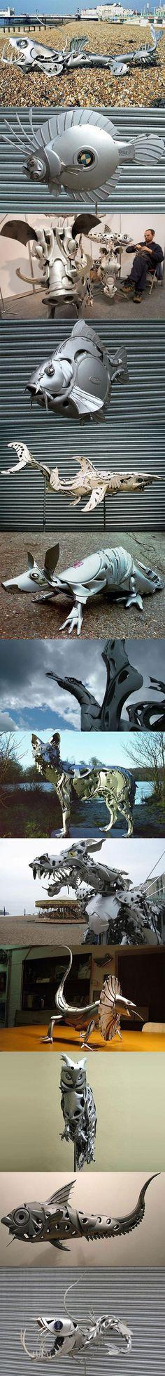 Hubcap sculptures. Sculptures by Ptolemy Elrington