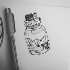 Tiny ink drawing of orgiami boat in a bottle by LullaBy D