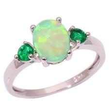 Green Fire Opal Emerald Women Jewelry Gemstone Silver Ring Size 12 OJ5315