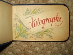 Antique Victorian 1888 Royal Blue Velvet Gold Leaves Autograph Album N.Y. - The Gatherings Antique Vintage