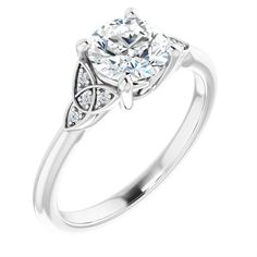 This beauty is sophisticated and a minimalist design, a true beauty for a special lady.  This Celtic-inspired design comes in different metal colors such as 10KT,14KT and 18KT yellow,white and rose gold, it is also available in Platinum.  The diamonds are all GHI color, VS-SI clarity and its your choice which carat and color suits your budget.  Shipped Globally. Celtic Knot Jewelry, Celtic Necklace, Celtic Rings, Round Solitaire Engagement Ring, Medieval Jewelry, Bridal Rings, Round Diamonds, White Gold, Inspired