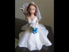 Passo a Passo Vestido de Noiva _Biscuit com aplique em tecido_Parte 3/4 - YouTube