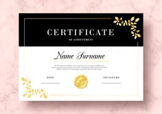 Elegant certificate of achievement with golden leaves psd template Free Psd Certificate Of Merit, Certificate Frames, Printable Certificates, Certificate Of Appreciation, Certificate Of Achievement, Certificate Templates, Food Web Design, Flowers For Mom, Mood Wallpaper
