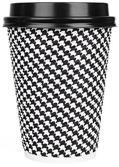 Disposable Hot Coffee Insulated Cups By Golden Spoon – 50 Pack Set Complete With Lids – Stylish Contemporary Ripple Design - Perfect For Take Away Coffee Shops And Bars (12 oz, Checkered Design). For product & price info go to:  https://all4hiking.com/products/disposable-hot-coffee-insulated-cups-by-golden-spoon-50-pack-set-complete-with-lids-stylish-contemporary-ripple-design-perfect-for-take-away-coffee-shops-and-bars-12-oz-checker/