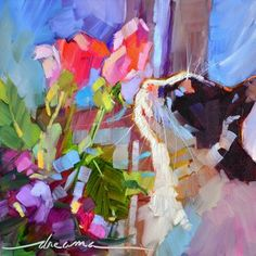 """Heaven Scent"" cats and flowers art - Dreama Tolle Perry"