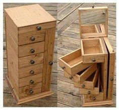 Swinging drawer jewelry box or make it much taller and a nice floss holding box.