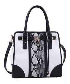 Love this White Snakeskin Color Block Satchel on #zulily! #zulilyfinds