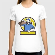 Carpet Layer Carpet Roll Circle Retro T-shirt. Illustration of a male carpet layer carrying roll of carpet on shoulder looking to the side viewed from front set inside circle done in retro style. #illustration #CarpetLayerCarpetRoll